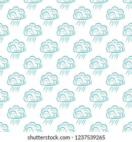 Seamless pattern with rainy clouds