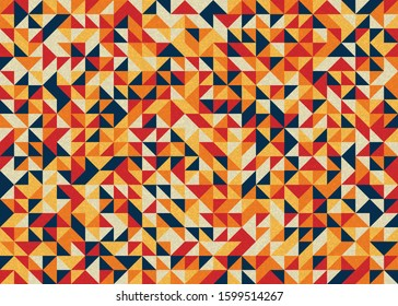 Seamless pattern with random colored triangles Generative Art background illustration