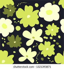 seamless pattern of random hand drawn flower with splash ink on dark background in vector illustration