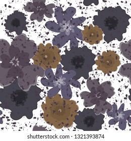 seamless pattern of random hand drawn flower with splash ink on white in vector illustration