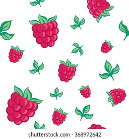 seamless pattern raspberries and leaves on a white background