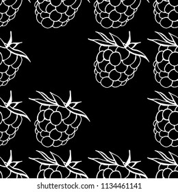 Seamless pattern from raspberry on a black background. Vector illustration of a seamless  pattern raspberry. Hand drawn raspberries.
