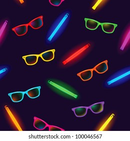 Seamless pattern - rave party with sunglasses and glow sticks on dark background - vector illustration.