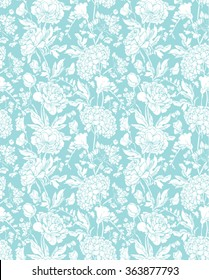 Seamless pattern with Realistic graphic flowers - sweet pea, peony and gardenia - hand drawn background in white and blue colors.
