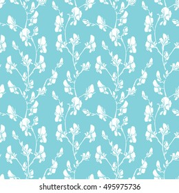 Seamless pattern with Realistic graphic flowers - sweet pea - hand drawn background in white and blue colors.