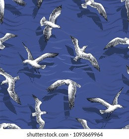 seamless pattern - realistic gulls, cormorants and seagulls hovering over the sea. Vector wallpaper with sea theme.