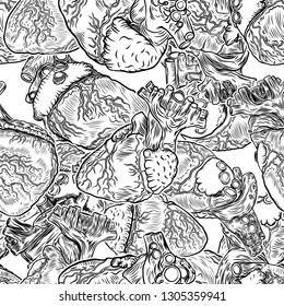 Seamless pattern of Realistic human heart. Vintage style hand drawing. Cartoonish silk dress fashion tattoo design engraving. Vector.