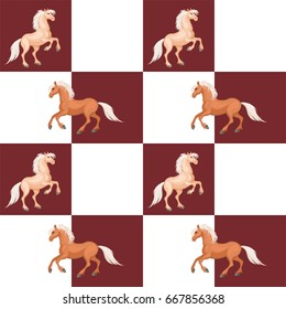 Seamless pattern with a realistic image of beautiful horses. Vector background.