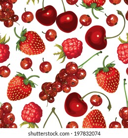 Seamless pattern of realistic image of delicious ripe red berries