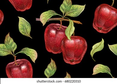 Seamless pattern with red apples. Realistic vector illustration plant. Hand drawing with colored pencils. Fruit, leaf, branch of tree on black background. For kitchen design, food packaging. Vintage.