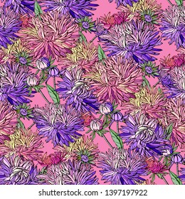Seamless pattern with red asters. Endless texture for floral design.