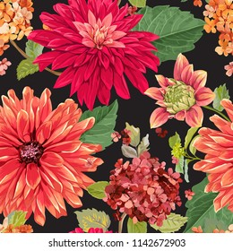Seamless Pattern with Red Asters Flowers. Floral Background for Fabric Textile, Wallpaper, Wrapping. Watercolor Flowers Design. Vector illustration