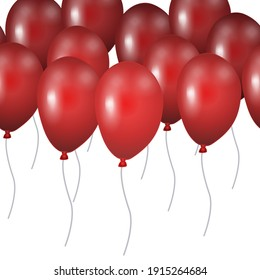 Seamless pattern red balloons isolated on white background. Border template for postcard, banner, poster, web design. Hand Drawn vector illustration.