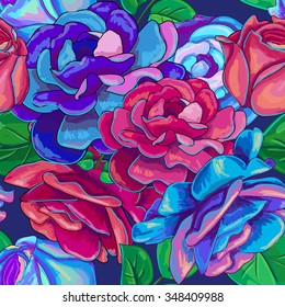 Seamless pattern with red and blue roses. Vector illustration