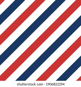Seamless pattern with red, blue and white strips. Barber pole pattern. Vector