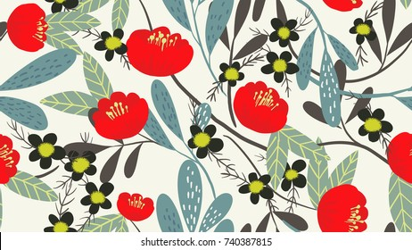 Seamless pattern, red Camellia and small flowers with leaves on white background