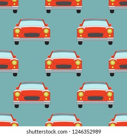 Seamless pattern with red cars.