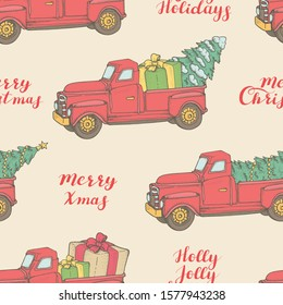 Seamless pattern with red cars, Christmas trees and greetings