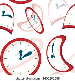 Seamless pattern. Red clock faces with blue pointers. Deformed and distorted clock face. Flat vector illustration on white background