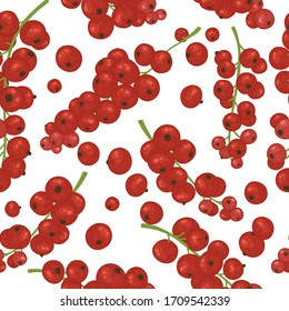 Seamless pattern with red currant berries. Vector illustration of bright fruits in watercolor style for tea, juice, jam, wine, sweets and eco-products. For posters, textiles, kitchen decoration.
