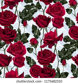 Seamless pattern of red flowers roses and leaves.