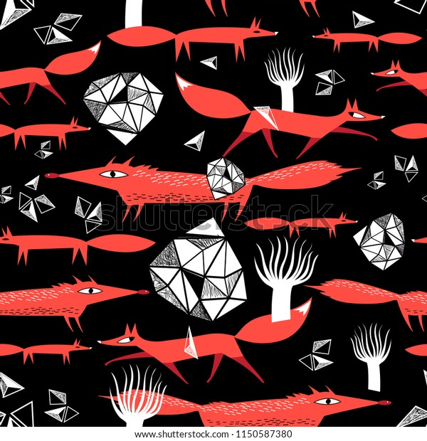Seamless pattern with red foxes on a dark background. An example for the design of postcards and the web.
