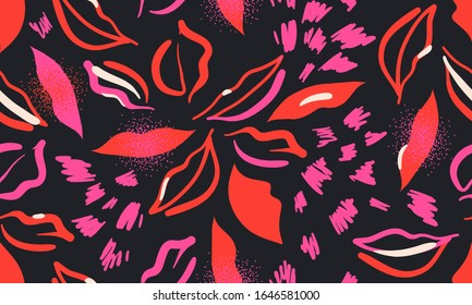 Seamless pattern with red and fuchsia lips on black background. Fashion artistic design.