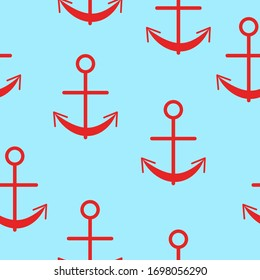 Seamless pattern with red graphic anchors on blue background. Simple flat design. Sea and ocean. Maritime equipment. Ship and boat. For children postcards, scrapbooking, textile and wrapping paper