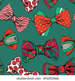 Seamless pattern with a red and green Christmas bow tie. Vector illustration.