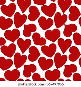 Seamless pattern with red hearts of different form on a white background. Vector eps 10.