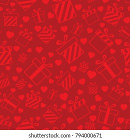 Seamless pattern with red hearts and gift boxes on red background. Vector pattern for Valentines Day, Mother's Day. Background for wedding invitation card design, gift wrapping paper, te