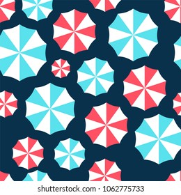 seamless pattern with red and light blue parasols
