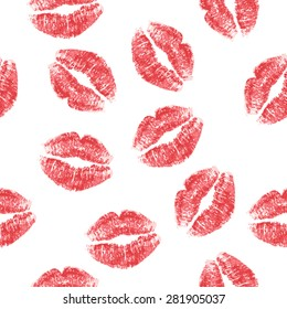 Seamless pattern with red lips on white background. Vector illustration.