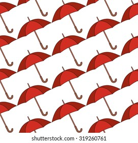 Seamless pattern with red painted umbrellas