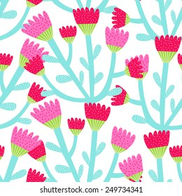 seamless pattern of red and pink tulips on a white background
