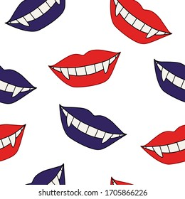 Seamless pattern of red and purple lips on white. Smile of a vampire with fangs. Simple vector background image for fabric, textile, scrapbook, gift wrapping paper.
