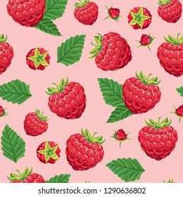 Seamless pattern with red raspberry berries and green leaves on pink background. Vector illustration of food in cartoon flay style.