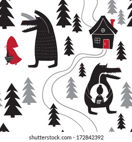 Seamless pattern with Red Riding Hood and wolf walking in the woods. Wolf swallowed grandmother. Red Riding Hood fairy tale.