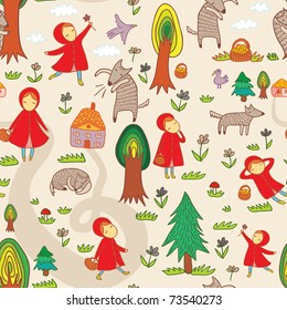 seamless pattern with Red Riding Hood