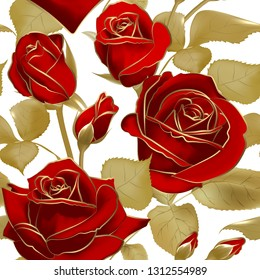 Seamless pattern with red roses and gold outline on white backdrop. Vintage floral background. Vector illustration