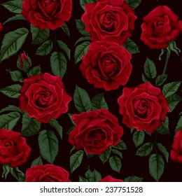 Seamless pattern with  red roses , vector illustration. Perfect for background greeting cards and invitations of the wedding, birthday, Valentine's Day, Mother's Day.