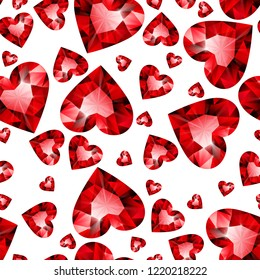 Seamless pattern of red ruby shiny hearts on white background