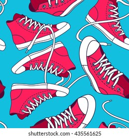 Seamless pattern with red shoes. Hand drawn gumshoes