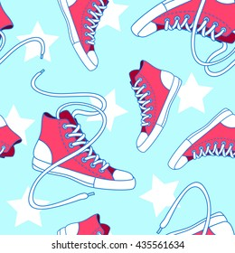 Seamless pattern with red shoes and stars. Hand drawn gumshoes