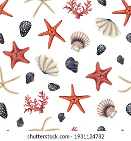 Seamless pattern with red starfishes, shells and coral. Vector trendy print