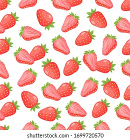 Seamless pattern with red strawberries, slice and green leaves on a white background.