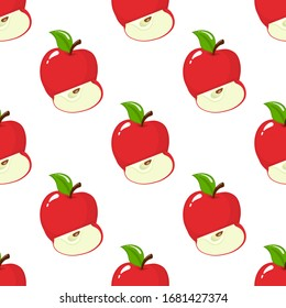 Seamless pattern with red whole and slice apples on white background. Organic fruit. Cartoon style. Vector illustration for design, web, wrapping paper, fabric, wallpaper.