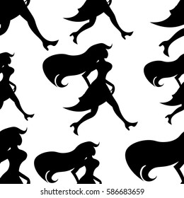 seamless pattern red-haired girl silhouette with bag goes vector illustration