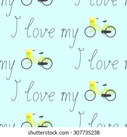 Seamless pattern with repeating calligraphic lettering I love my and bicycle with yellow colored female frame and pannier on handlebar with big bouquet of chamomiles in it isolated on blue background