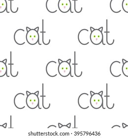 Seamless pattern with repeating cat lettering with lettering a in the shape of cat isolated on white background